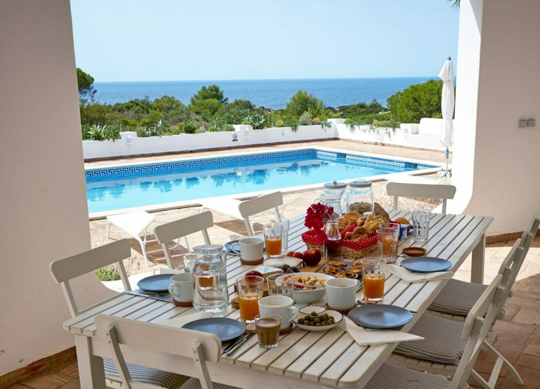 Yoga Retreat - Gedeckter Tisch mit Frühstück und Meerblick über Pool