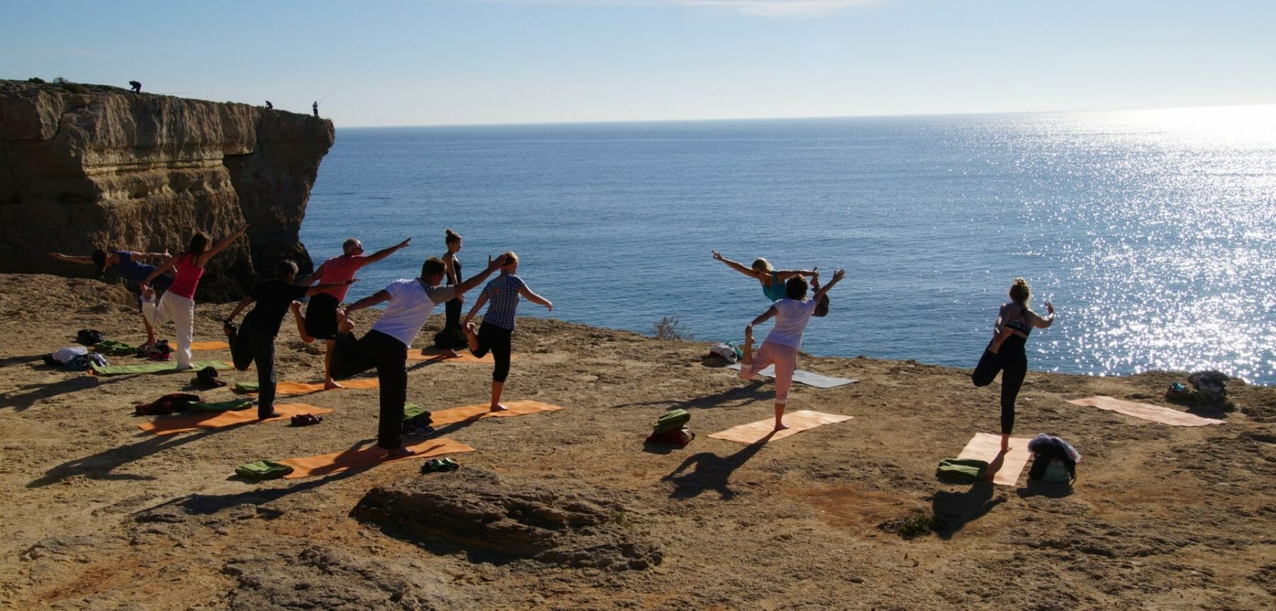 Outdoor yoga places on the cliffs around Baia Cristal